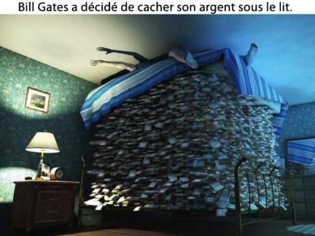 bill gates cache son argent sous son lit. Black Bedroom Furniture Sets. Home Design Ideas